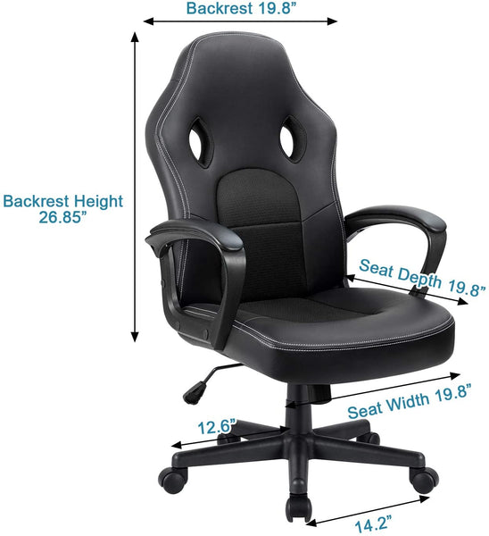Victone Office Desk Leather Gaming, High Back Ergonomic Adjustable Racing Task Swivel Executive Computer Chair  (Black)
