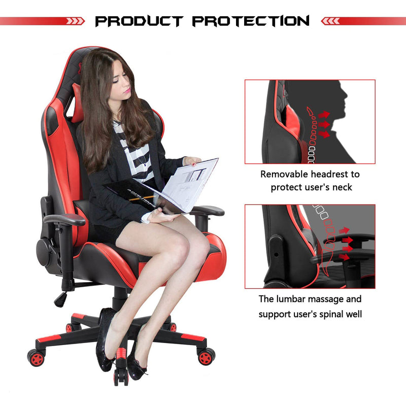 Victone Gaming Chair Racing Style High Back Computer Chair with Adjustable Armrests Ergonomic Office Chair Executive Swivel Task Chair