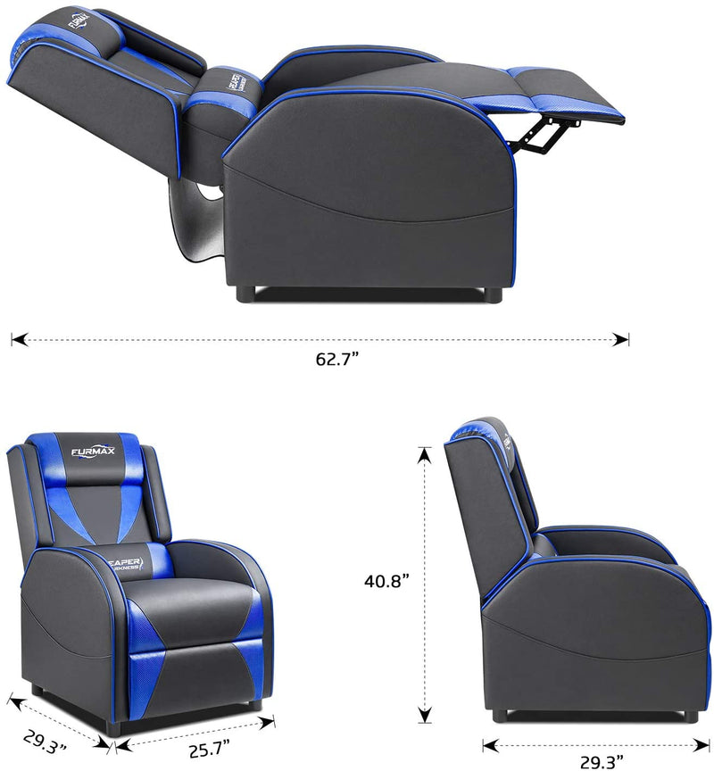 Victone Gaming Recliner Chair Racing Style Single Ergonomic Lounge Sofa PU Leather Reclining Home Theater Seat for Living Room