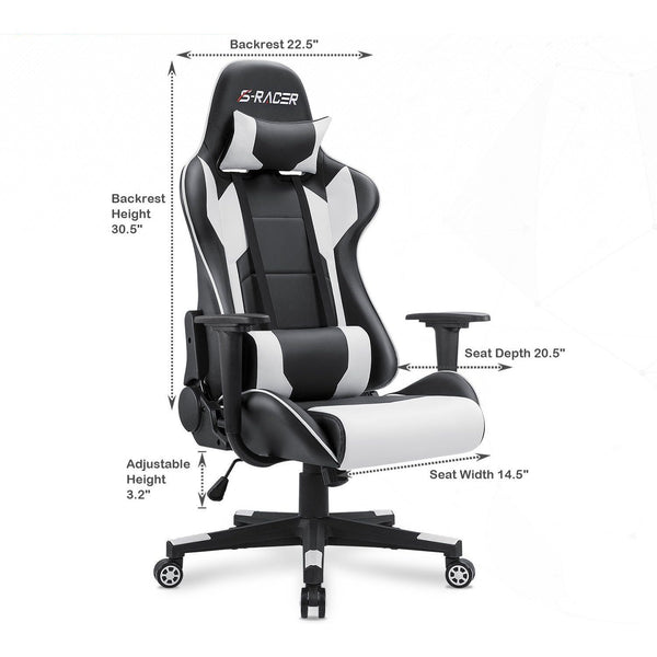 Victone Gaming Chair Office Chair High Back Computer Chair with Headrest and Lumbar Support (White)