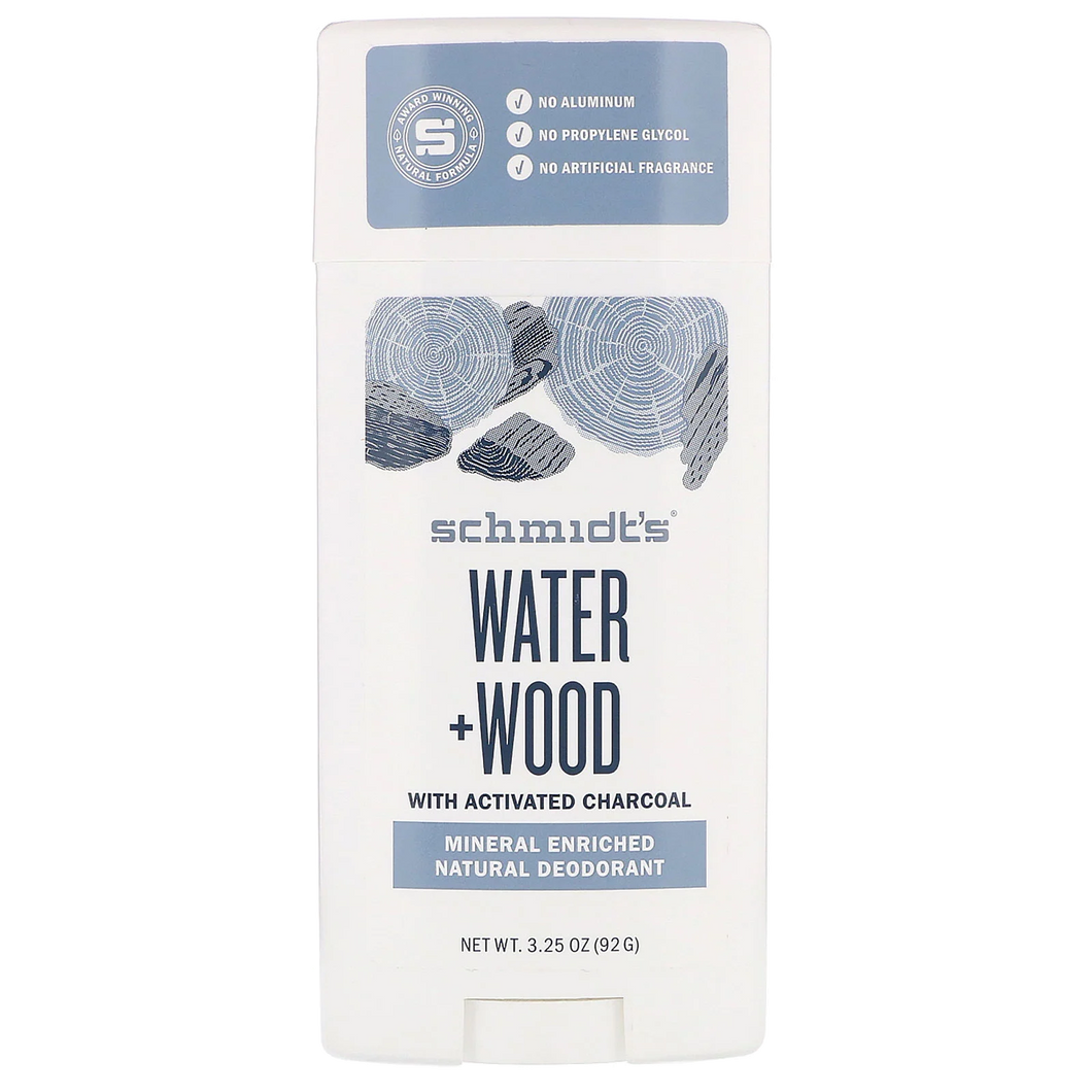 Schmidt's Deodorant Water + Wood Stick 3.25oz