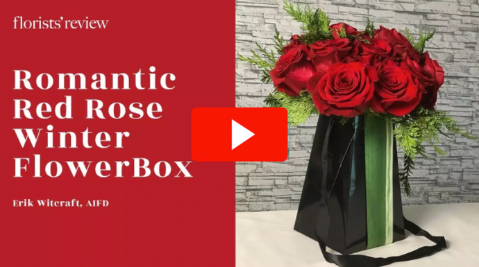 Romantic Red Rose Winter FlowerBox Floral Design How-to