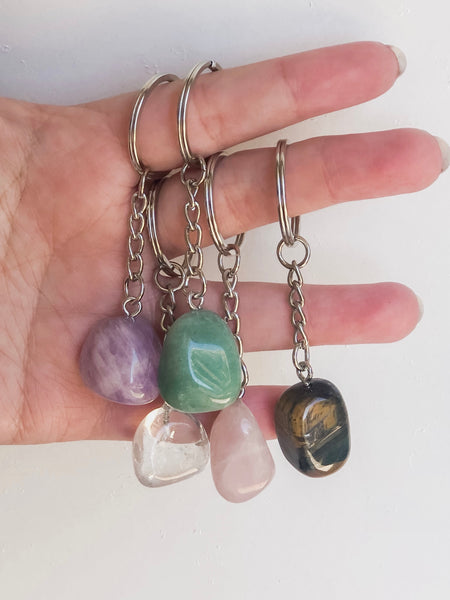 Tumbled Crystal Key Rings