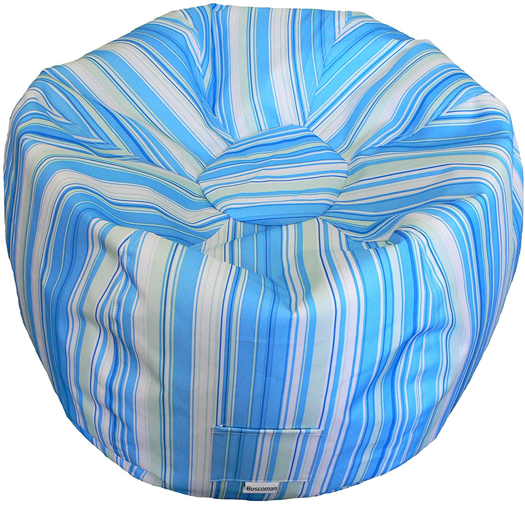 Boscoman - Adult Striped Round Beanbag Chair - Blue/Green