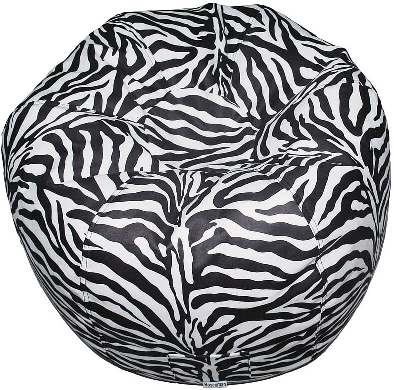 Boscoman - Teen Round Faux Suede Animal Print Zebra Beanbag Chair