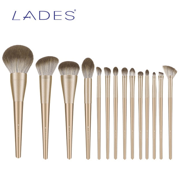 14 Gold Piece Makeup Brushes Set
