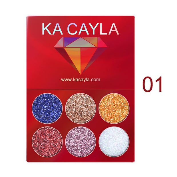 Professional 6 Colors Glitter Eye Shadow