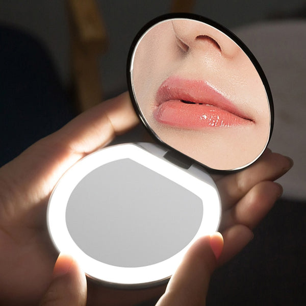 LED Lighted Round Magnifying Cosmetic Light Small Mirrors