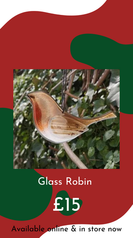 Glass Robin by Simon Alderson Glass from Glass Designs & Gallery, Independent Gift Shop in Bristol
