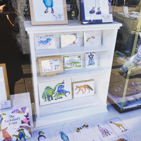 Rosie Webb Prints in shop window. Bristol independent gift shop.