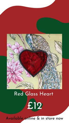 Stained Glass Red Heart by Dadswell Glass from Glass Designs & Gallery, Independent Gift Shop