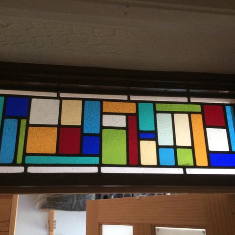 Contemporary Stained Glass Window Panel above door