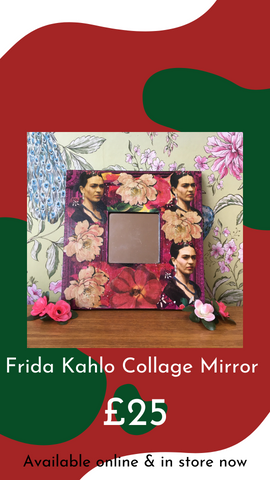Frida Kahlo Collage Mirror by Ali Chura from Glass Designs & Gallery, Independent Gift Shop in Bristol