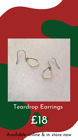 Tear Drop Gold Earrings by Ava & Bea from Glass Designs & Gallery, Independent Gift Shop in Bristol