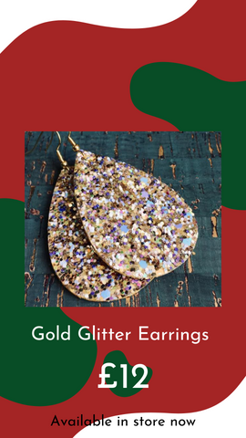Gold Sparkly Earrings by E.Giraffe from Glass Designs & Gallery, Independent Gift Shop. New Years Eve Jewellery.