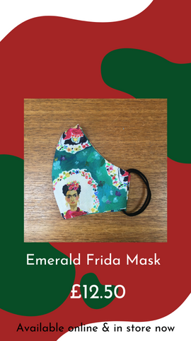 'Emerald Frida' Frida Kahlo Face Mask by Paper Hearted Princess from Glass Designs & Gallery, Independent Gift Shop in Bristol