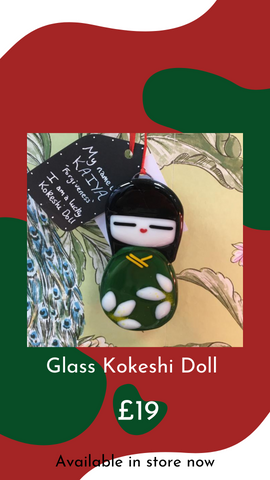 Fused Glass Kokeshi Doll by Catherine Dunstan Glass from Glass Designs & Gallery, Independent Gift Shop in Bristol