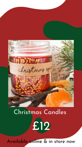Handmade Christmas Candles by Anna Palamar Designs from Glass Designs & Gallery, Independent Gift Shop in Bristol