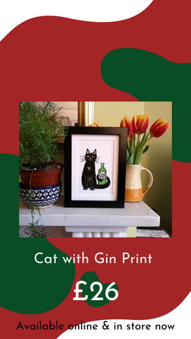 Illustrated Black Cat with Green Gin Bottle by Laura Robertson Illustration from Glass Designs & Gallery, Independent Gift Shop in Bristol