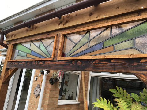 Art Deco Stained Glass Panel in outdoor gazebo