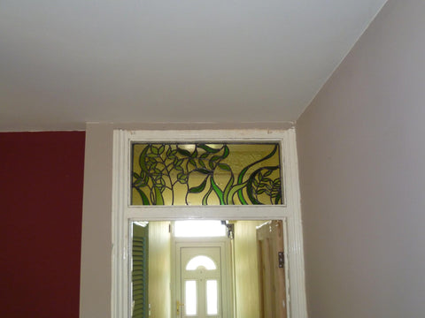 Whimsical Bespoke Stained Glass Window panel above door