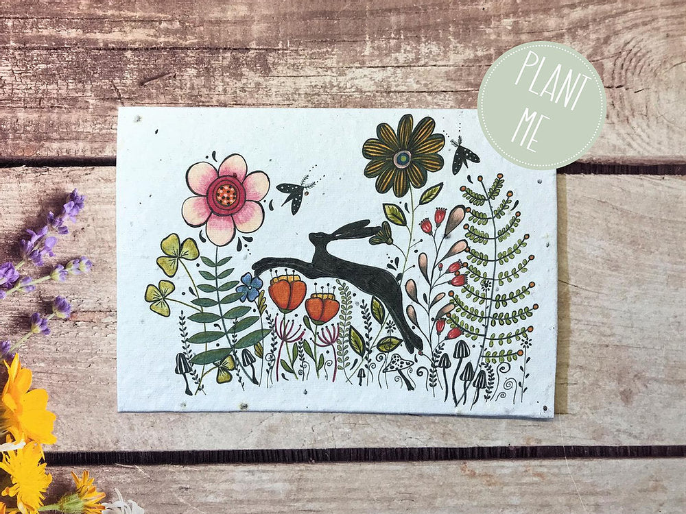 Hare in Flowers Plantable Card