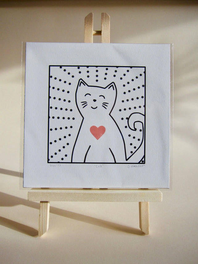 Glass Designs Ransom Designs Unframed Cat print. Smiling cat line drawing illustration on white background with pink heart and little stars