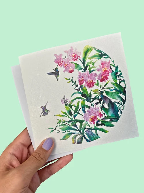 Carla James Hummingbirds and Orchids Card