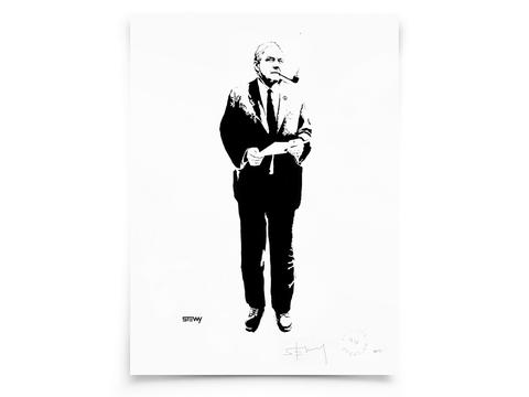 Glass Designs Stewy Unframed Tony Benn Print. Black and white illustration. Print taken from life size stencils from Bristol street artist Stewy.