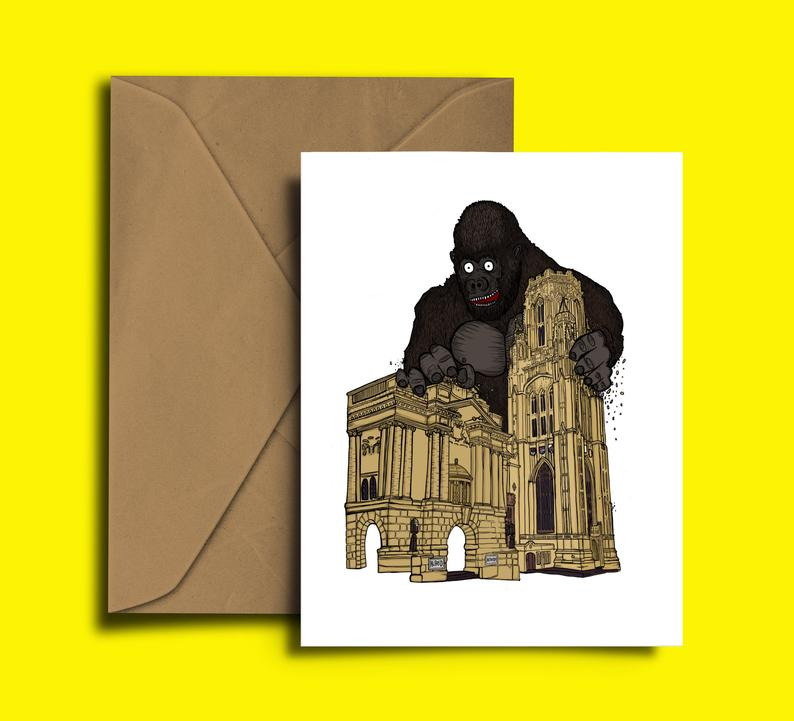 Glass Designs Dixon Does Doodles card with a giant Alfred the gorilla and the Bristol City Museum