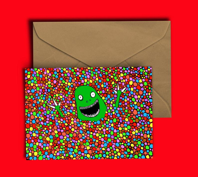 Glass Designs Dixon Does Doodles card with a picture of a dinosaur in a ball pit of skittles