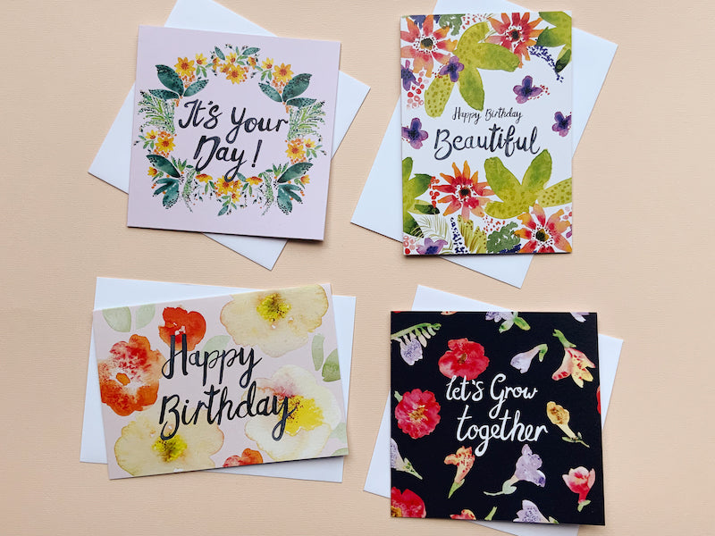 Thea & Fox, This beautiful pack of 4 floral cards, for those special people in your life.