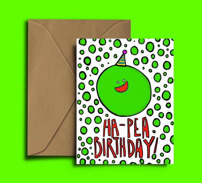Glass Designs Dixon Does Doodles card with a smiley pea wearing a party hat