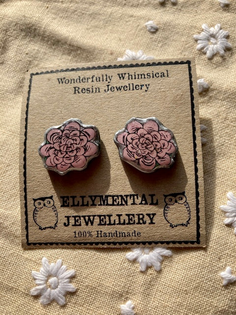 Quirky pink flower stud earrings.  Layered paper, metal and resin, handmade in Cardiff by Ellymental.