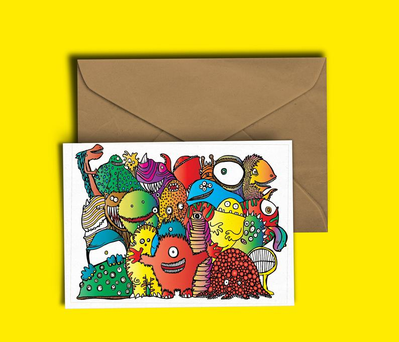 Glass Designs Dixon Does Doodles card with a group of colourful happy monsters