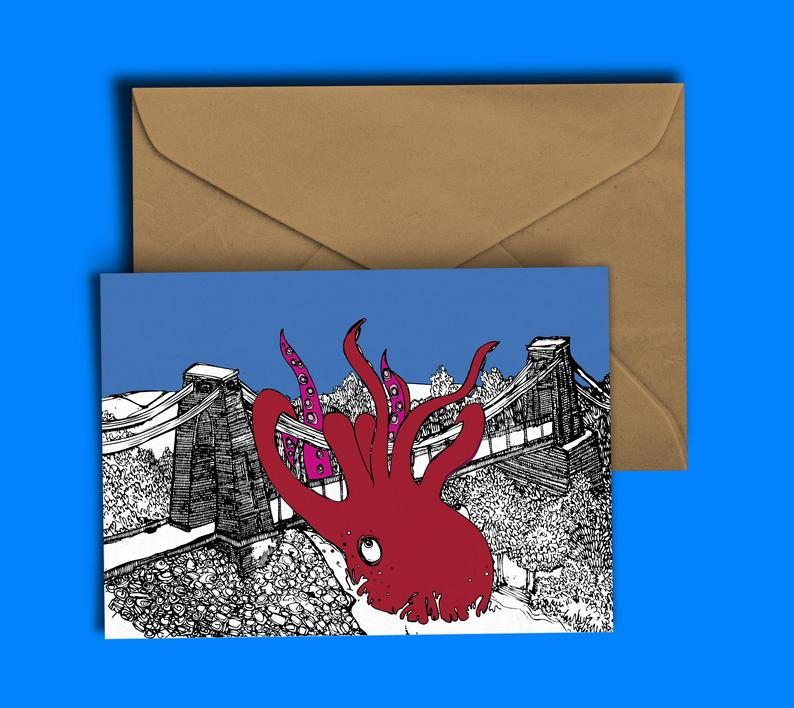 Glass Designs Dixon Does Doodles card with a giant red octopus wrapped around the Bristol Clifton Suspension Bridge