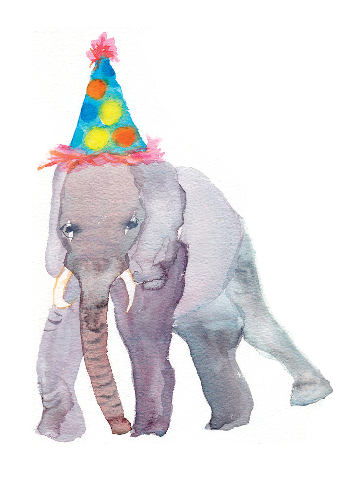 Rosie Webb Elephant in Party Hat Card