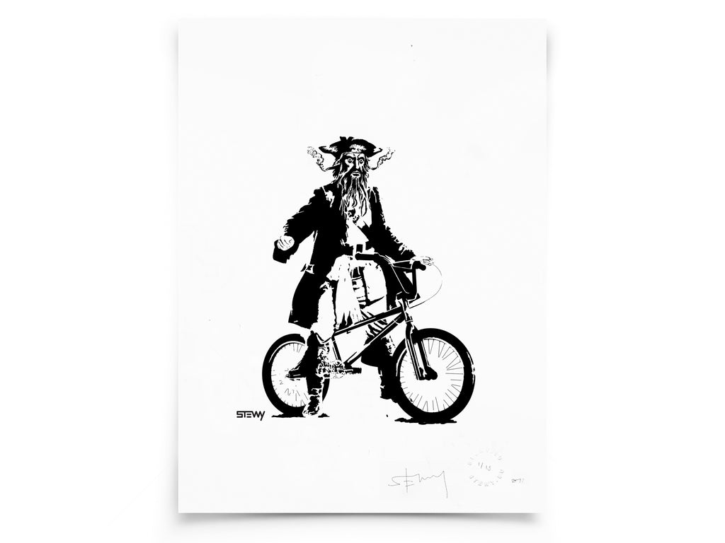 Glass Designs Stewy Unframed Blackbeard Portrait Print. Black and white illustration. Print taken from life size stencils from Bristol street artist Stewy.