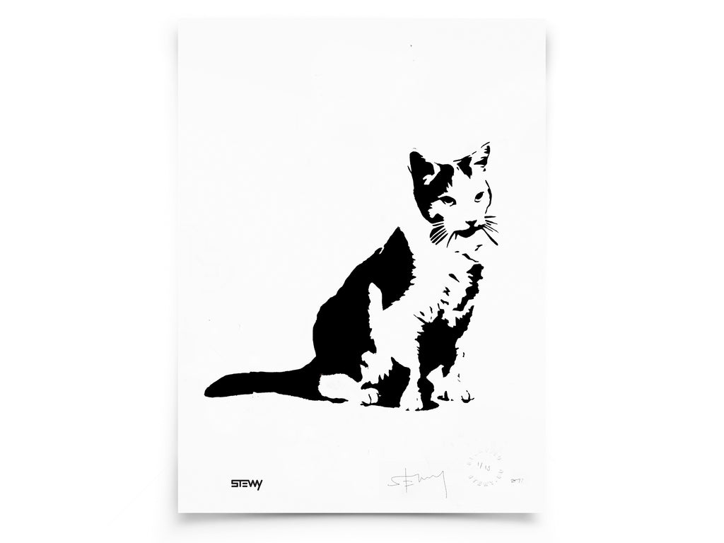 Glass Designs Stewy Unframed Cat Print. Black and white illustration. Print taken from life size stencils from Bristol street artist Stewy.
