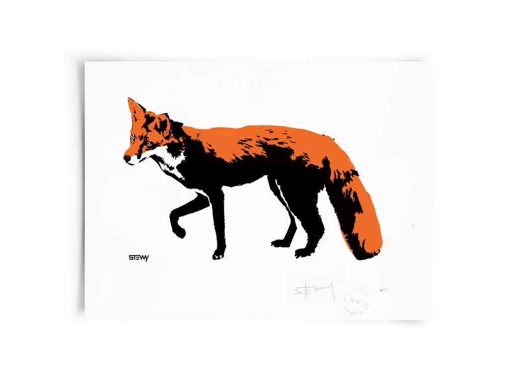 Glass Designs Stewy Unframed Fox Print. Black, orange and white illustration. Print taken from life size stencils from Bristol street artist Stewy.