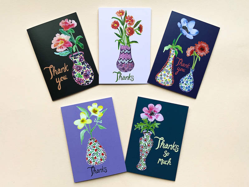 Pack of 5 Thank you cards by Thea & Fox.  Printed with eco friendly prints on 100 % recycled card.  5 individual water colour paintings of flowers in vases.  Designed in Bristol.