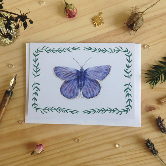 Katharina Illustration Blue Butterfly Card
