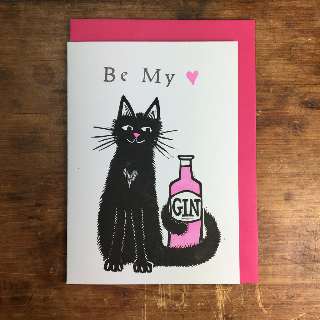 Laura Robertson Be My Love Gin Cat Card