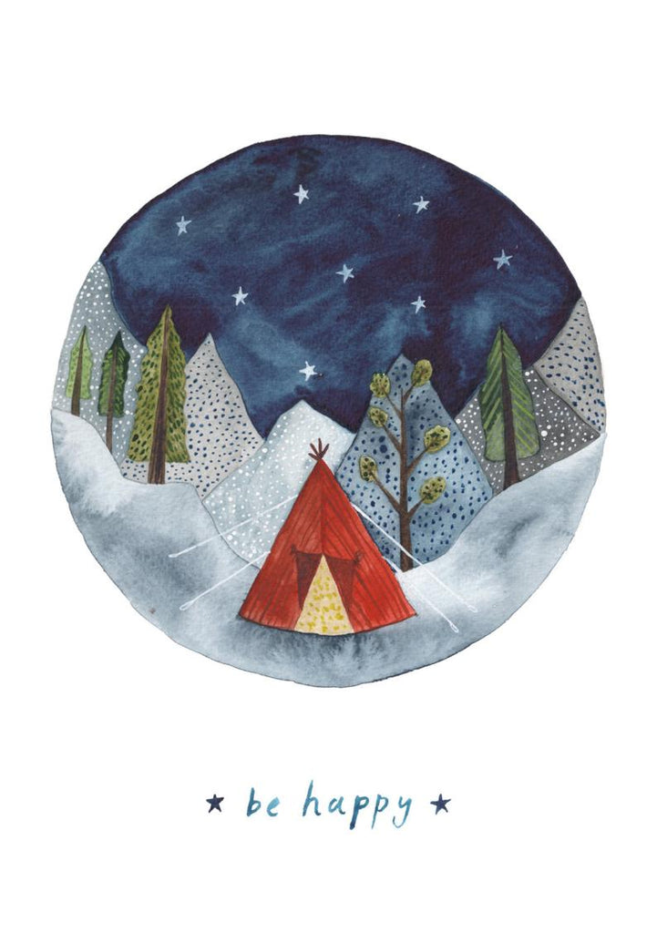 card with round watercolour of mountains dark sky and a tent with the words ''Be Happy''