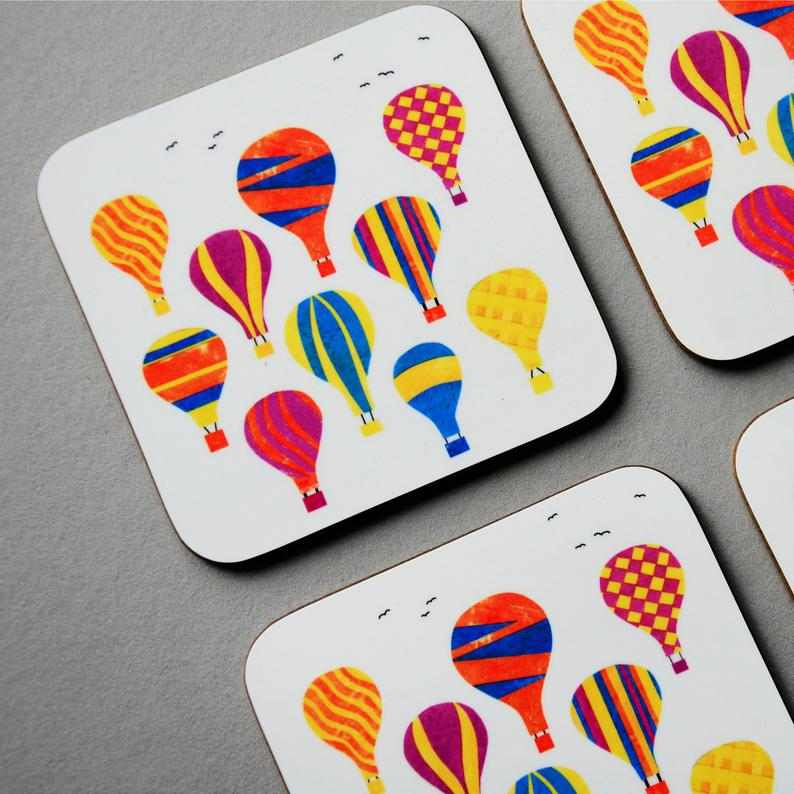 Fiona Clabon Colourful Balloons Coaster