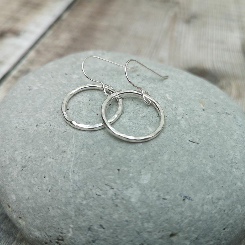 Glass Designs Jewellery By Jo silver open circle dangly earrings with hammered finish