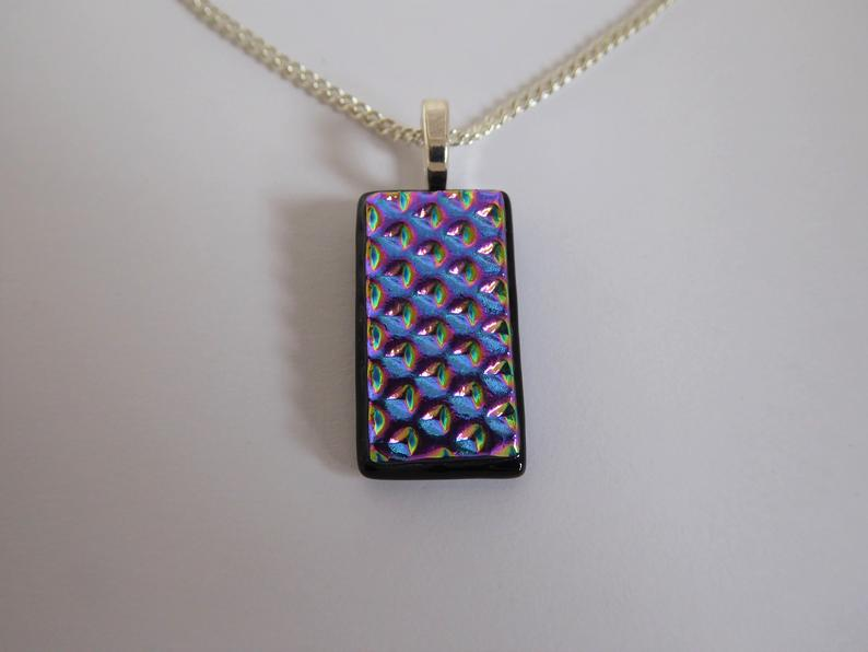 Eva Glass Rainbow Bulbs Pendant.  Dichroic glass pendant.