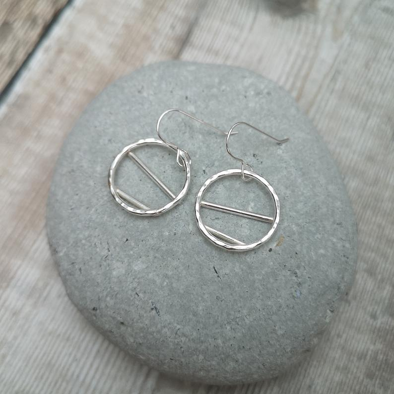 Glass Designs Jewellery By Jo silver open circle with bars dangly earrings with hammered finish