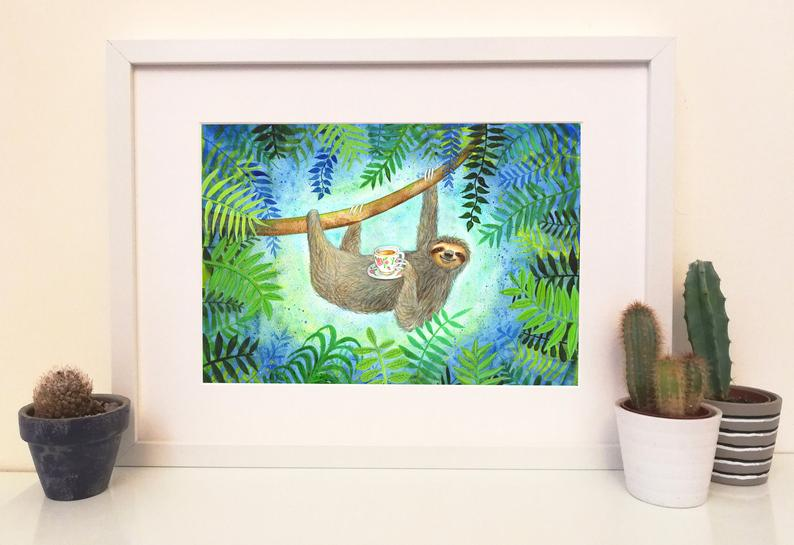 Laura Robertson Sloth with a Cup of Tea Print
