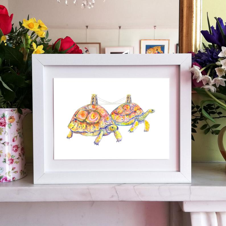 Laura Robertson Two Tortoise Suspension Bridge Print